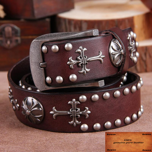 2016 New Men Gothic belt personality trend rivets belts steam punk Skeleton rock belt Retro genuine leather Cinto