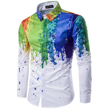 White Slim Fit Long Sleeve Shirt Men 2019 Fashion Splatter Paint Pattern Print Mens Dress Shirts Party Wedding Prom Shirt Camisa
