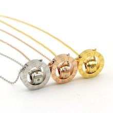 20mm big Roma numerals white crystal two circles Pendants Necklaces for women lady choker colar maxi