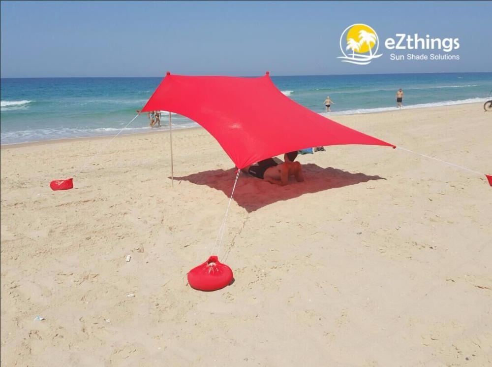 HOT Sea Beach CampingTent bâche parasol gonflable abri auvent sable ancre sac de transport auvent pluie protéger Portable 2 pôles - 2