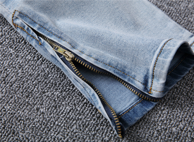 DANT BULUN Men Ripped Hole Jeans Slim Skinny Biker Blue Jeans Side Zipper Elastic Casual Denim Hip Hop Mens Jeans For Men