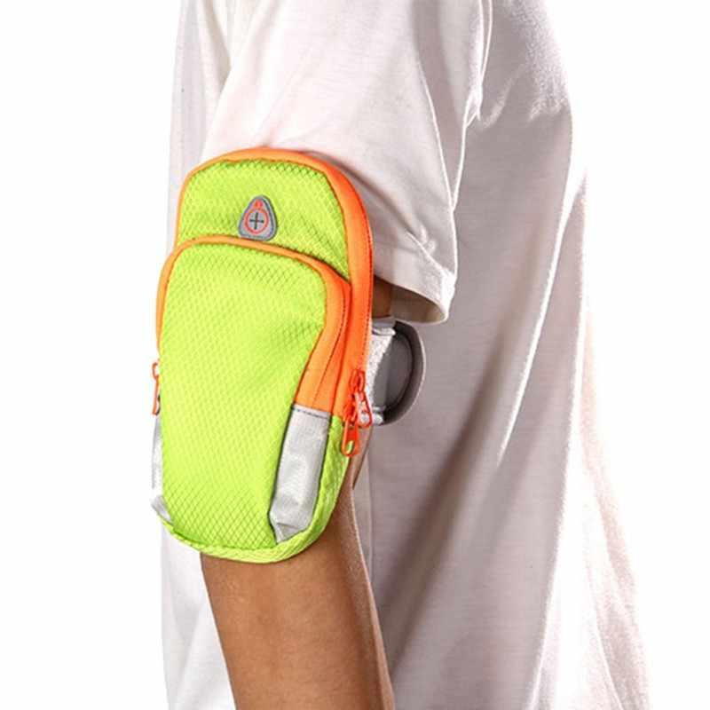 جديد 5.5 بوصة في الهواء الطلق الرياضة الجري النايلون الذراع حقيبة المعصم الحقيبة ممارسة اللياقة البدنية الركض رياضة قابل للتعديل مقاوم للماء ذراع الهاتف حقيبة