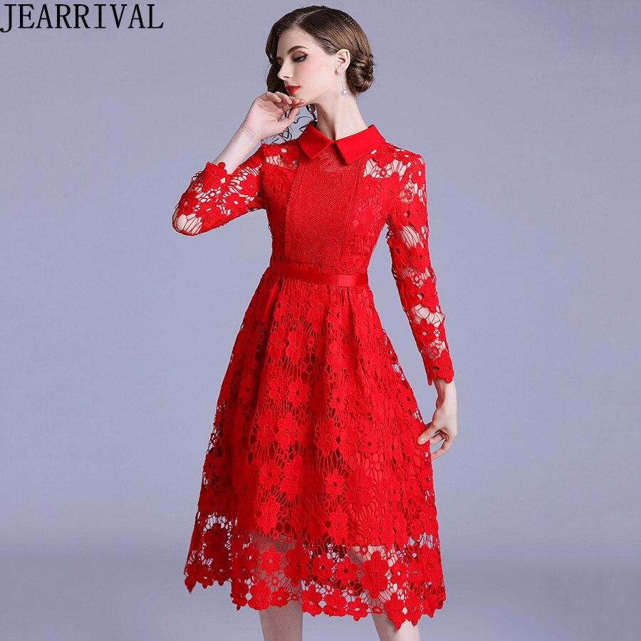 Nouvelle mode à manches longues rouge dentelle robe 2018 femmes col rabattu évider Vintage Slim robe De soirée a-ligne Vestidos De Festa