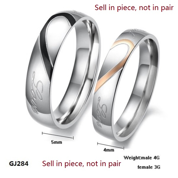 Stainless Steel Silver Half Heart Simple Circle Real Love Couple Ring Wedding Rings Engagement Rings Sell in single ring GJ284