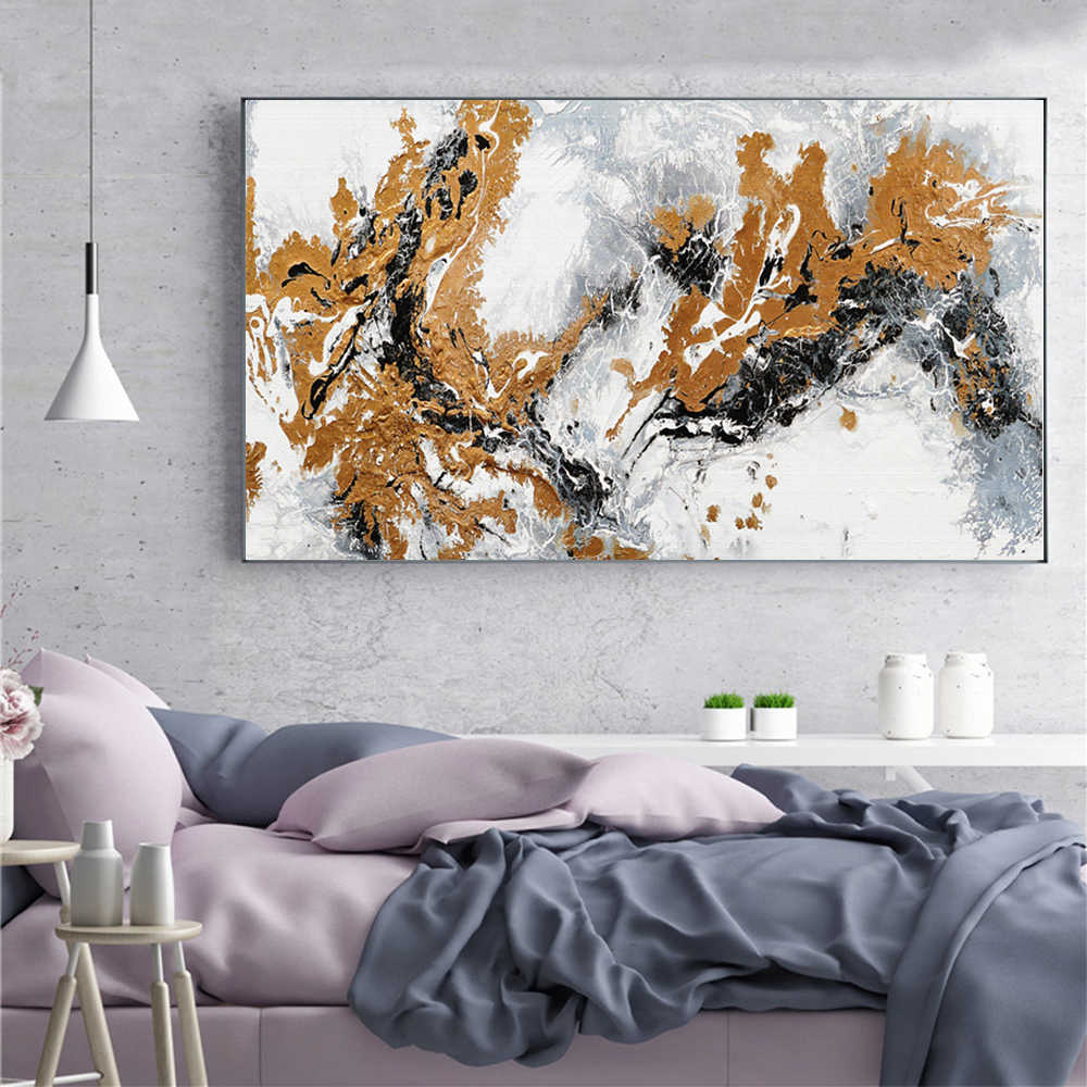 Wangart Abstract Canvas Painting Wall Art Golden And Black Oil Painting Posters Nordic Wal Picture For Living Room Home Decor