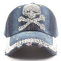 New fashion female baseball cap skull Rhinestone cowboy hat edging  baseball cap