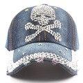 Nova moda feminina boné de beisebol crânio Strass chapéu de cowboy chapéu boné de beisebol afiação