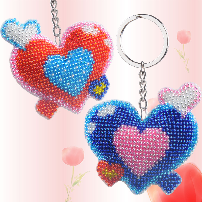 6.5cm Diy Handmade Beads Embroidered Toys  Love Cross-stitch Keychain Heart-shaped Craft Kit Kids Adult Girl Gift 2018 New Toy