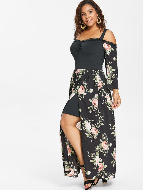 US $20.0 49% OFF Wipalo Women Floral Print Plus Size Cold Shoulder Maxi  Dress Long Sleeve High Slit Flowing Dress Elegant Party Beach Dress 5XL-in  ...