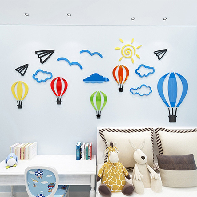 Colorful Hot Air Balloon Acrylic Decorations Customized Stickers ...