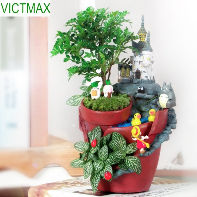 VICTMAX Micro Landscape Castle Garden Flowerpot Office Home Decoration Bonsai Planter Pot
