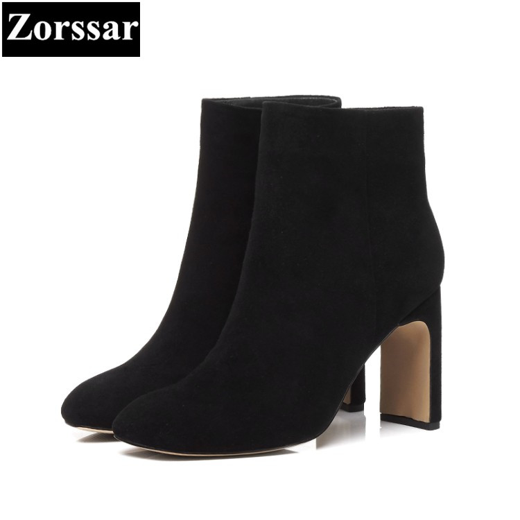 {Zorssar} 2018 NEW Large size Women Boots Thick heel Round Toe High heels ankle Riding boots Kid Suede womens shoes winter