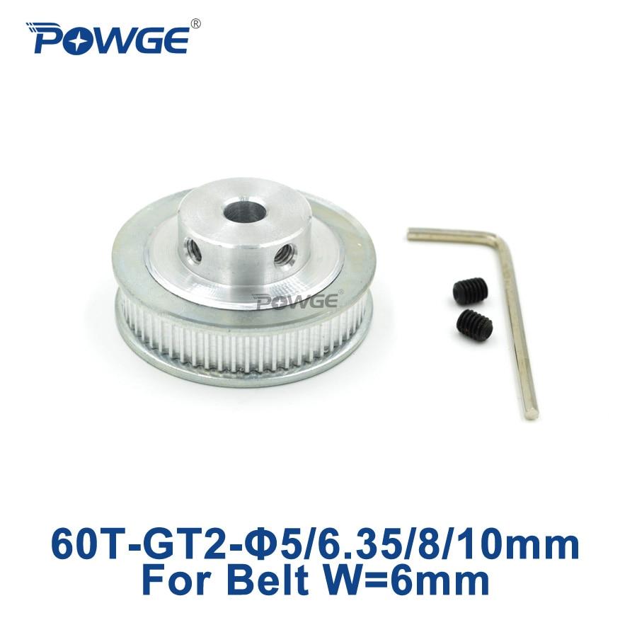 POWGE 1 шт. 60 зубьев GT2 зубчатый шкив диаметр 5 мм 6,35 мм 8 мм 10 мм для ширины 6 мм GT2 зубчатый ремень Малый люфт 2GT ремень 60 зубьев 60 т