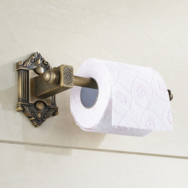 Bathroom Lavatory Rolling Toilet Paper Holder Wall Mount Antique