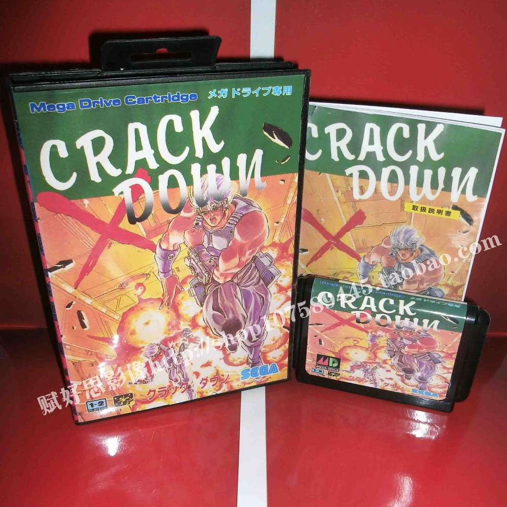 Crack down Game cartridge with Box and Manual 16 bit MD card for Sega Mega Drive for Genesis