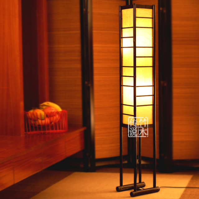 New Arrival Rustic Chinese Style Floor Lamp Sheepskin Bamboo Lamps
