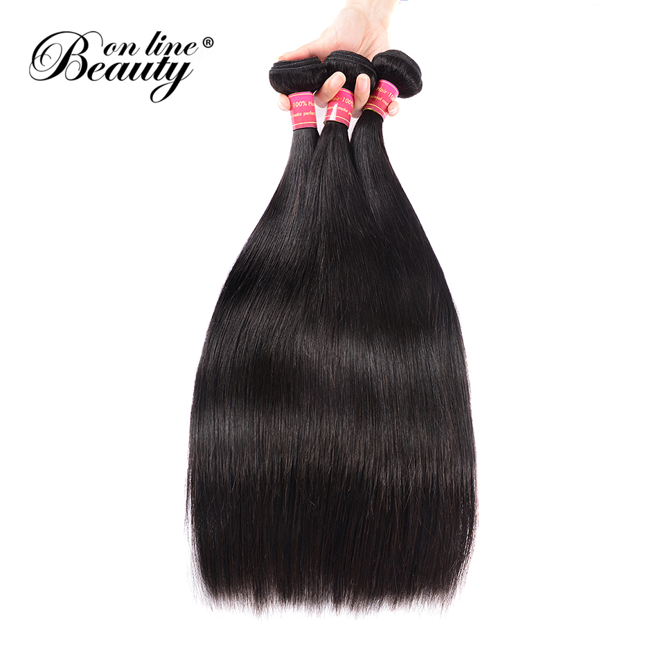 Beauty On Line Brazilian Straight Human Hair 1/3 Bundles Deal 8-30 inch Hair Weave Natural Black Remy Hair Extensions