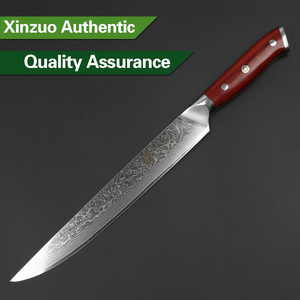 Image 4 - XINZUO 10 inch Cleaver Knife Japan Damascus Steel Professional Long Slicing Kitchen Knive Rosewood Handle Sushi Salmon Knives