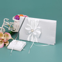 5pcs Rhinestones Satin Flower Girl Basket Ring Pillow Ribbon Bowknot Guest Book Bride Garter Wedding Decoration Party Supplies
