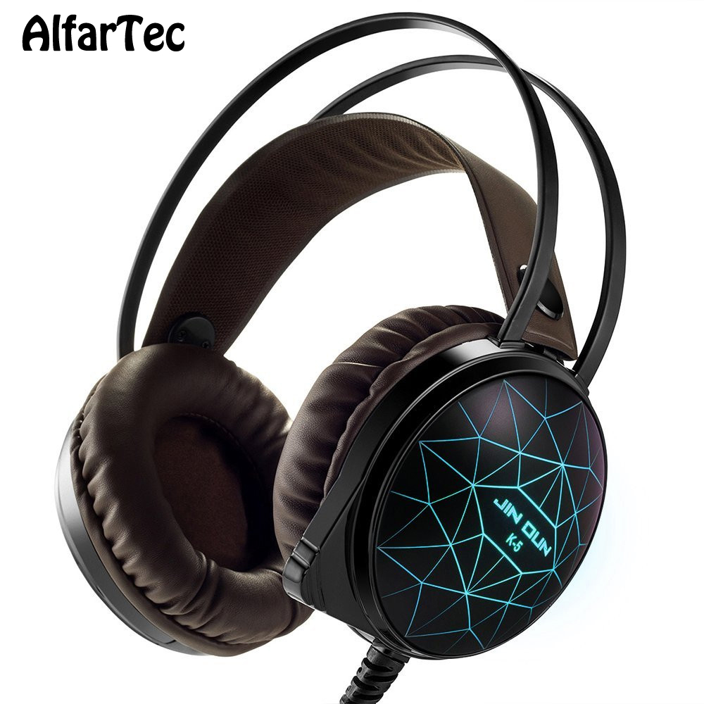 Colorful RGB LED Light Over-ear Headphone With 3.5mm Connector USB Headband Super Bass Stereo Sound For PC Gamer Computer Phones each g1100 shake e sports gaming mic led light headset headphone casque with 7 1 heavy bass surround sound for pc gamer