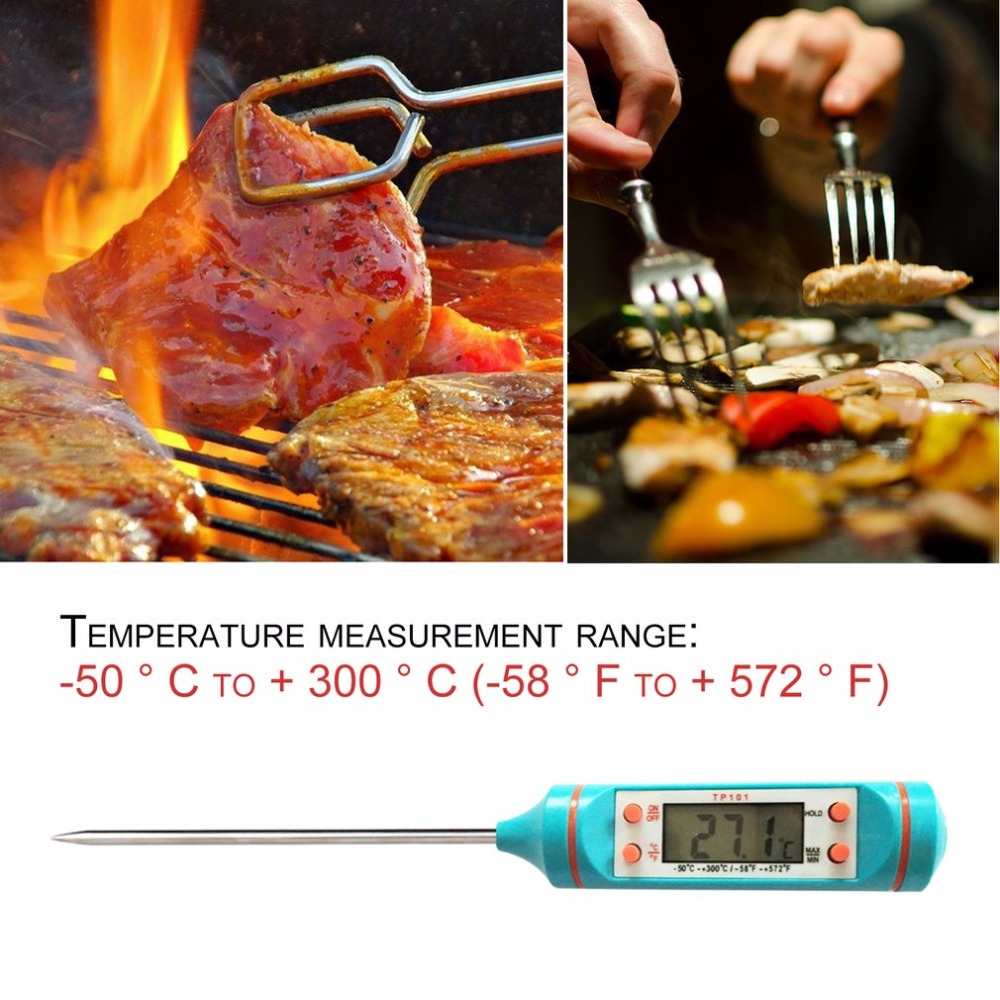 TP101 Cooking Food Meat Thermometer Digital LCD Screen Stainless Steel Probe Kitchen Oven Barbecue Liquid Cooking Supplies NEW