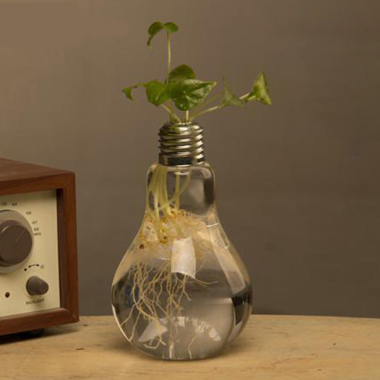 Decorative Glass Bulb Lamp Shape Flower Water Plant