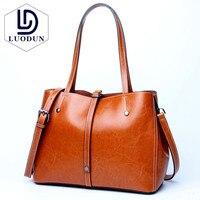 LUODUN 2018 fashion leather handbags shoulder leather wholesale shopping bag laptop bag simple and practical ladies bag