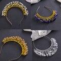 Generoso Silver Crystal Tiara de La Boda Accesorios Para el Cabello Diadema Hecha A Mano Nupcial Tiaras Coronas Joyería Pelo de Las Mujeres