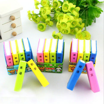 Coloffice 4pcs/lot (mixed) Korea cartoon color textbook eraser cute math book Pencil eraser promotional school office supplies