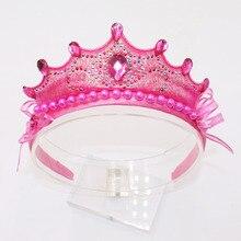 Новая мода милый розовый шелк Стразы Принцесса Дети Девочки Хрустальная лента для волос свадебная корона бант головная повязка аксессуары для волос