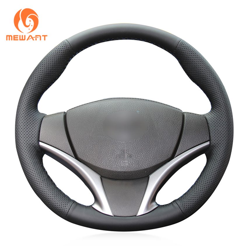 MEWANT Black Artificial Leather Car Steering Wheel Cover