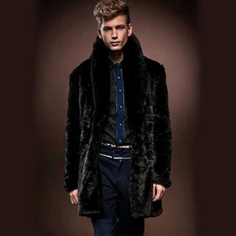 2018 w nowym stylu w zimie, męskie fałszywe futro płaszcz z norek, grubsze płaszcze, długi odcinek i brytyjski styl/darmowa wysyłka w Płaszcze ze sztucznej skóry od Odzież męska na  Grupa 1