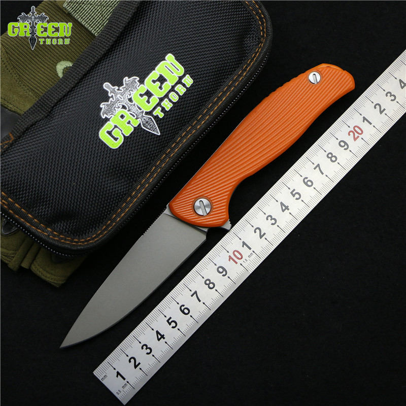 Green thorn hati 95 Flipper folding knife D2 blade G10+Steel handle outdoor camping hunting survival tactical knives EDC tools new browning folding knife stainless steel blade woodle handle camping portable survival hunting knife