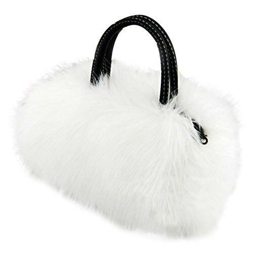 Lady Girl Pretty Cute Lovely Plush Fur Hairy Handbag Shoulder Bag Messenger Bag (White)