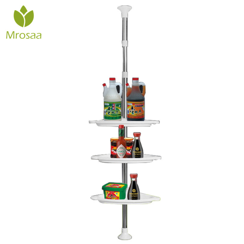 Adjustable Telescopic 4 Tier Caddy Organiser Holder Wall Corner Storage Rack Floor Type Shower Corner Shelf For Kitchen Bathroom