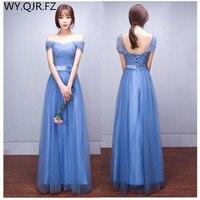 QHFS1804 # في خريف شتاء 2107 الجديدة زفاف العروس فستان طويل الأزرق حفلة موسيقية العروس الزواج طويلة فساتين بالجملة