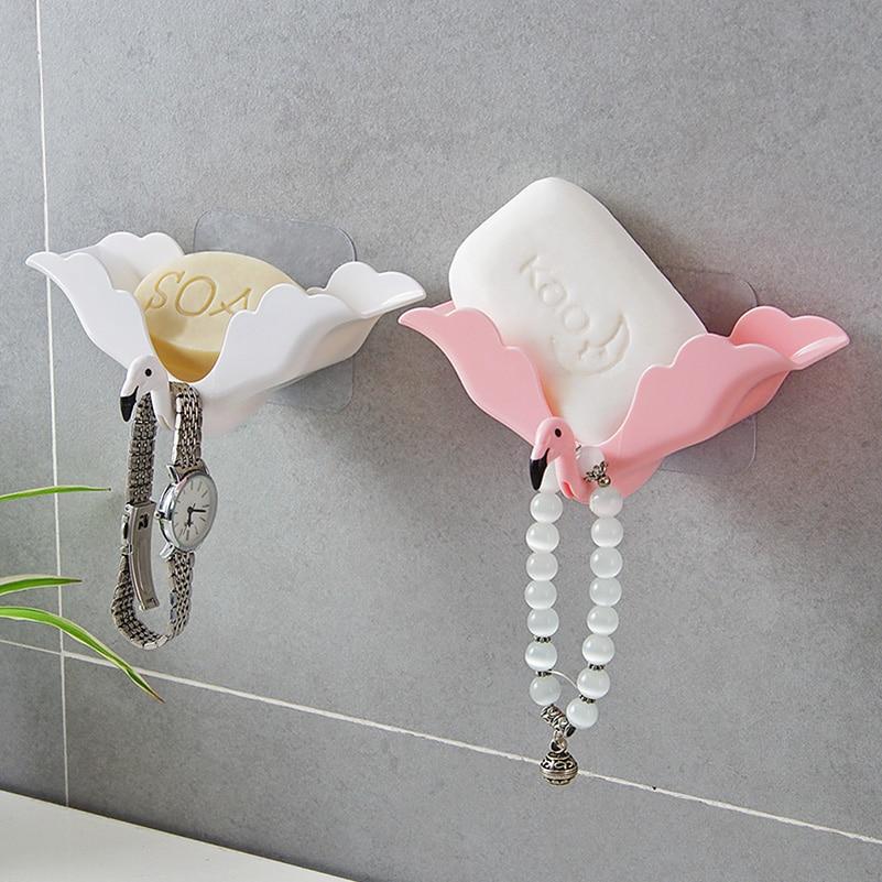 Flamingo Zeepbakje Spone Houder Reizen Zeepkist Sterke Sucker Muur Handdoek Stand Waterproof Case Containter Badkamer Accessoires