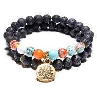 Hot Sale 2Pcs Natural Energy Black Volcanic Stone Chakra Bracelet Yoga Copper Tree of Life Lotus Dog Pendant Bracelet Wholesale