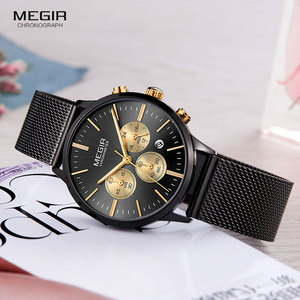 Image 3 - Megir 女性のクロノグラフ鋼クォーツ時計ファッション防水発光 24 時間アナログ腕時計女性のための 2011L 1N3