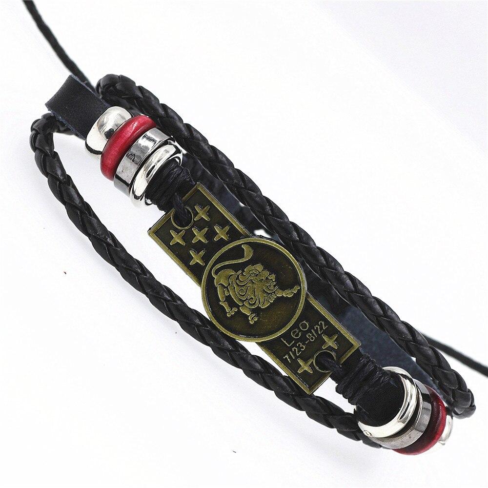 12 Constellations Punk Leather Zodiac Bracelet