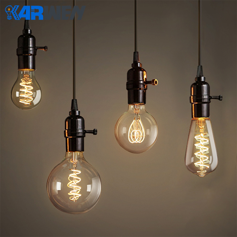 KARWEN LED Edison Bulb E27 ST64 A60 G80 G95 2200K Dimmable LED Filament Bulb Retro Bombillas Lampada 85-265V Vintage Lamp