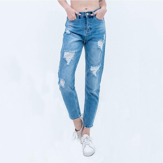 Luckinyoyo ג 'ינס גבירותיי ripped אישה אישה אמא ג' ינס מכנסיים ג 'ינס החבר נשים עם מותניים גבוהים לדחוף את גדול גודל