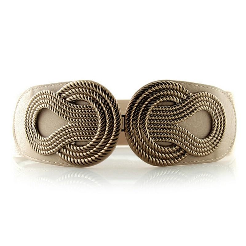 Vintage Wide Elastic Waist Belt For Women Metal Buckle Stretch Waistband Female Cummerbunds Corset Belts Strap Cinch 4 Colors