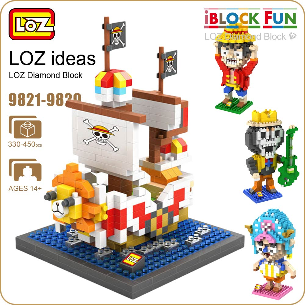 LOZ Diamond Blocks Pirate Ship Luffy Japanese Anime Action Figure Educational Kids Assembly Toys for Children Bricks 9821-9829