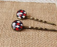 Preppy Scottish Tartan Cross Plaid Print Glass Cabochon Hairpins for Girls Mediterranean Style Bronze Hair Clips