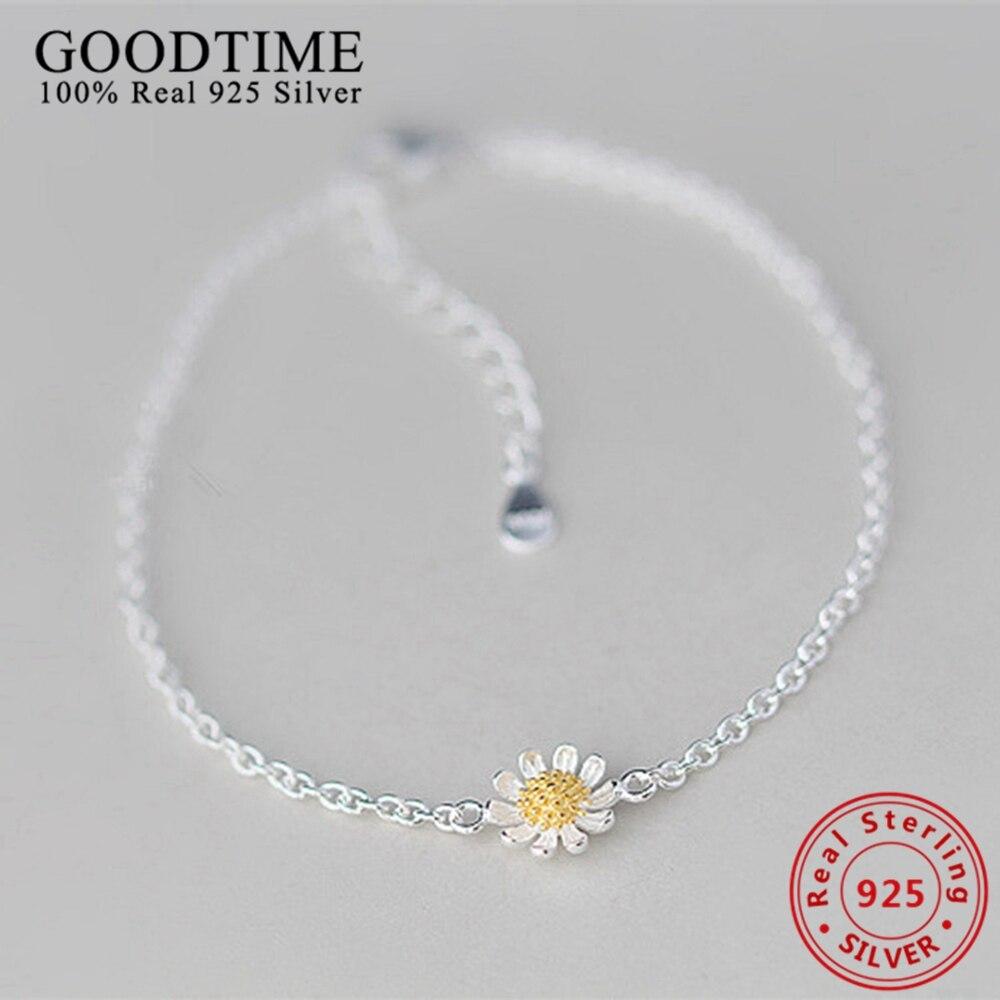 925 Sterling Silver Jewelry Trendy Sunflower Bracelets For Women Silver 925  Jewelry Link Chain Bracelets &