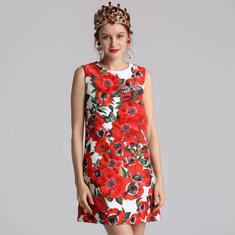 Rot RoosaRosee Neue 2019 Sommer Kleid Frauen blume Drucken Natur Taille O ansatz Über Knie Kleidung Ärmel die Frauen Kleider-in Kleider aus Damenbekleidung bei  Gruppe 2