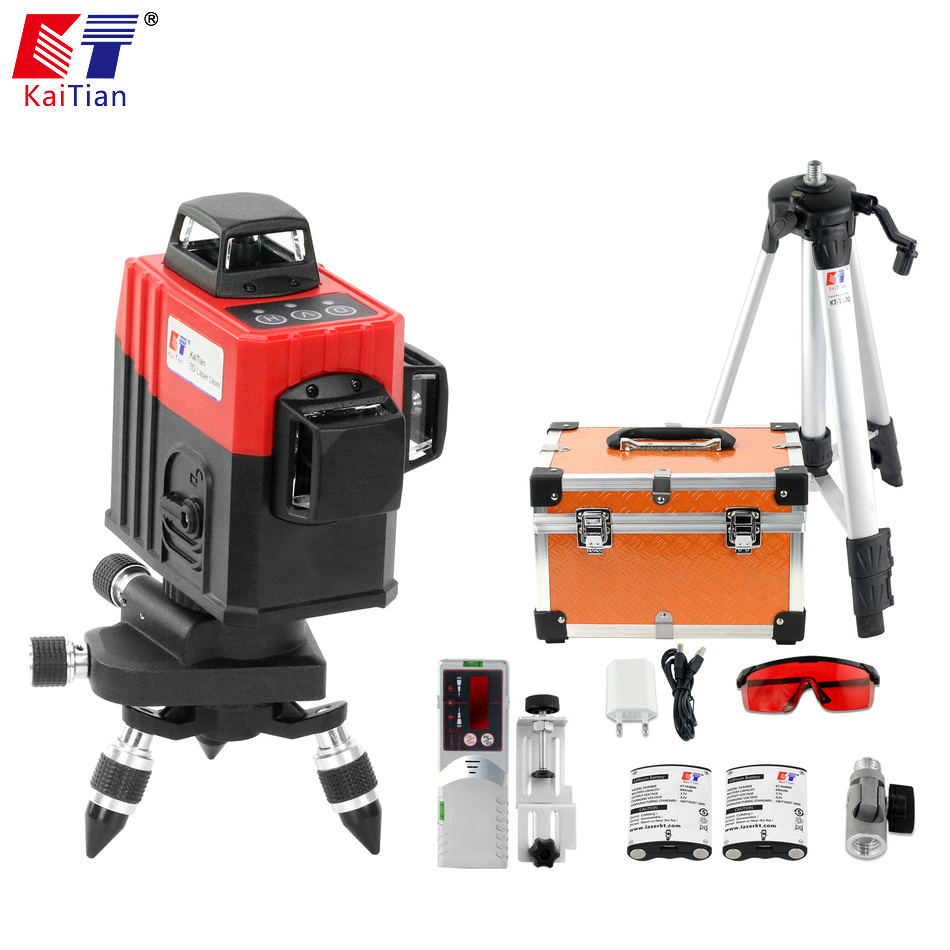 KaiTian 12 Lines 3D Laser Level Tripod Red Vertical 360 Horizontal Self-Leveling Cross Professional Laser Beam Nivel Level Tools firecore a8826d 2 lines laser level 1v1h1d cross self leveling red beam laser 0 28m tripod