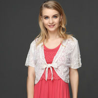 Europe And The United States Lace Shawl Thin Short Sleeved Embroidery Flower Retro Jacket MIN4618