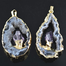 Natural Druzy Geode Slice WITH Purple Drusy Inset Pendants 5pc/lot New Fashion Women Jewelry